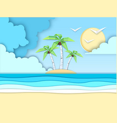 sea beach cut out paper art style design vector image