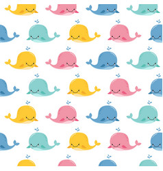 seamless sea pattern with funny whales summer vector image