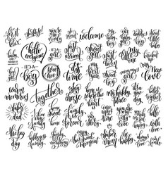 Set 50 hand written lettering about family and vector