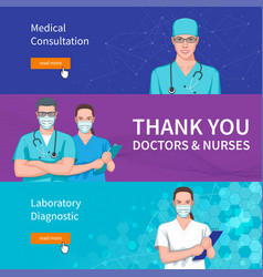 Set banners on medical theme vector