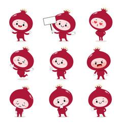 Set cute pomegranate cartoon characters vector