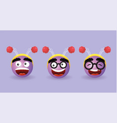 Set happy emoji face with diadem antenna vector