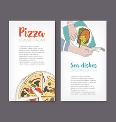 set of flyer templates with colorful drawings of vector image