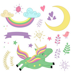Set of isolated unicorn and elements part 2 vector