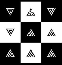 Set triangle letters logo icon design vector