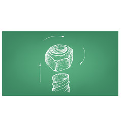 Sketch of prevailing torque lock nut on blueprint vector