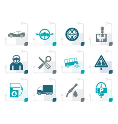 stylized car services and transportation icons vector image