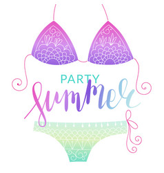 Summer bikini flyer with lettering vector