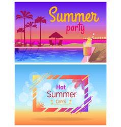 summer party days tropical promotional posters set vector image