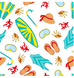 swimming equipment seamless pattern vector image