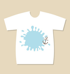 T-shirt print design with blue splash label and vector