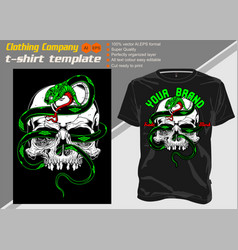T-shirt template fully editable with skull snake vector