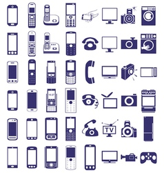 telephone equipment icons on white vector image