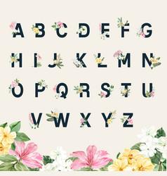 Thai flowers alphabet typography design vector