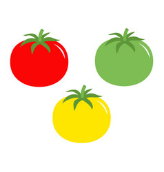 tomato with leaves icon red yellow green color vector image