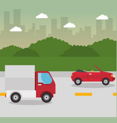 truck and car design vector image