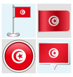 Tunisia flag - sticker button label flagstaff vector