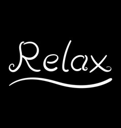 White curve hand writing relax word vector