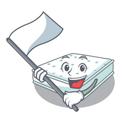 With flag mattress in cartoon on the shape vector