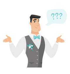 Young caucasian confused groom with spread arms vector