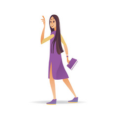 young woman waving hand while walking - cartoon vector image