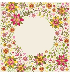 Floral frame with flowers and place for text vector image vector image