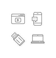 notebook usb flash drive and browser window vector image