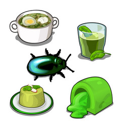 scarab and set of food set isolated vector image vector image