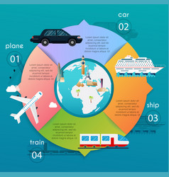 transportation infographic different types of vector image vector image