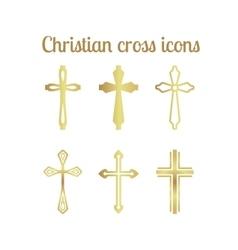 Golden christian cross vector