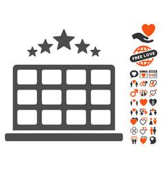 Hotel stars icon with valentine bonus vector