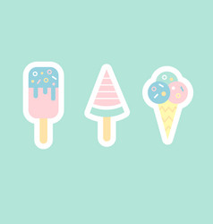 ice cream flat sticker cons vector image