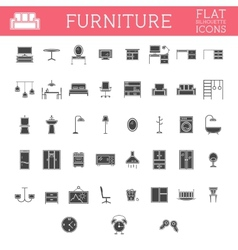 Set of Silhouette furniture outline icons Trendy vector image vector image