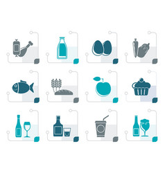 stylized food drink and aliments icons vector image vector image