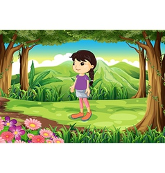A cute little lady at the jungle vector image vector image