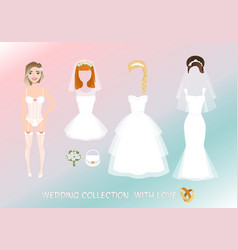 set of clothes for the bride in cartoon style vector image