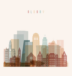 albany state new york skyline vector image