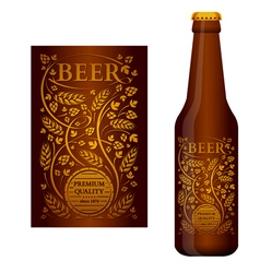 beer label with floral ornament vector image vector image