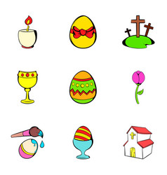 happy easter icons set cartoon style vector image vector image