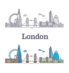 london city skyline with famous buildings tourism vector image vector image