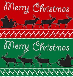 Merry Christmas post card with Santa and deers vector image