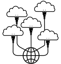 Plug technology into Global Cloud Computing vector image