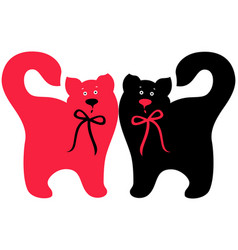 red and black elegant cats vector image vector image