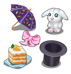Set with bunny carrot cake hat and other items vector