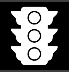 traffic light the white color icon vector image vector image