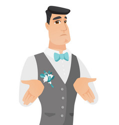 young caucasian confused groom shrugging shoulders vector image vector image