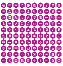 100 student icons hexagon violet vector