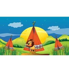 A lion inside a tent vector image