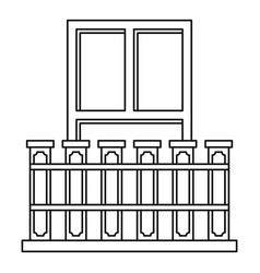 Balcony with iron railing icon outline style vector