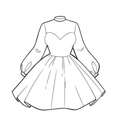 beautiful womens cocktail dress with a full skirt vector image